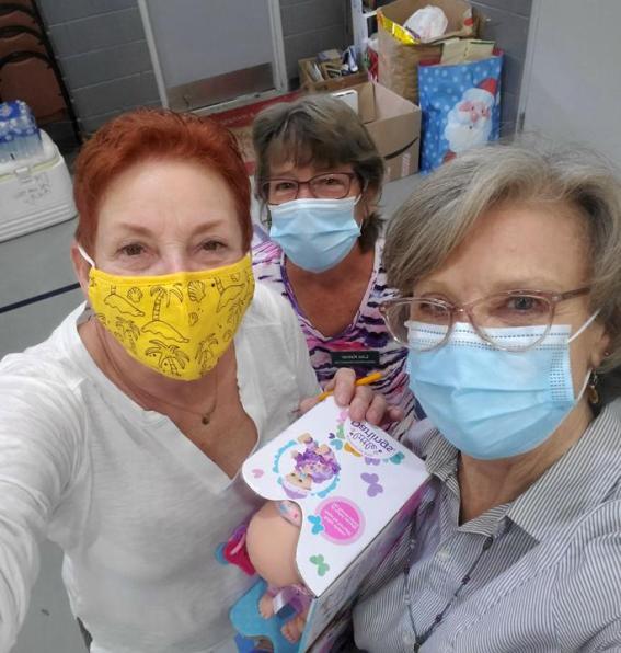 Lorraine, Lisa & Laura at Venice Salvation Army Angel Tree bag preparation.