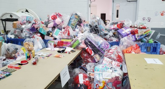 - Gift bags are checked for content and supplemented if needed then inventoried before distribution.