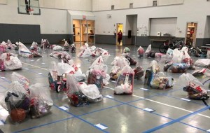 - Finally, distribution day! The gift bags, bikes and other items are ready for pickup.