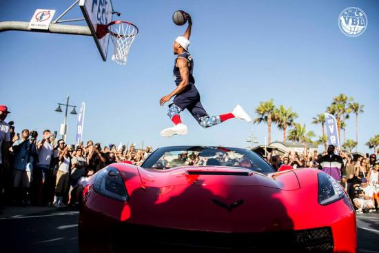 Chris Staples over the Corvette!