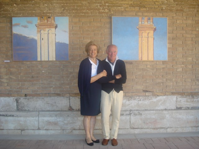 Marina Gelmi di Caporiacco and Robert Morgan at the Chiostro Madonna dell'Orto in Venice THE EXHIBITION HAD OVER 10000 VISITORS AND IS EXTENDED THROUGH NOVEMBER 22 photo by Alessandro Atwater
