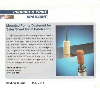 Rex-Cut Welding Journal Jan. 2014