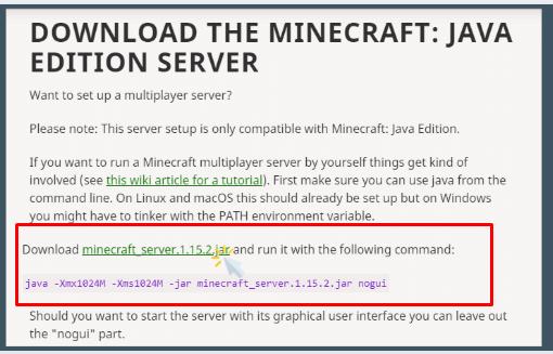 download the minecraft java edition server