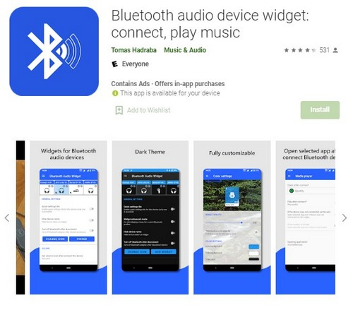 Bluetooth Audio Device Widget