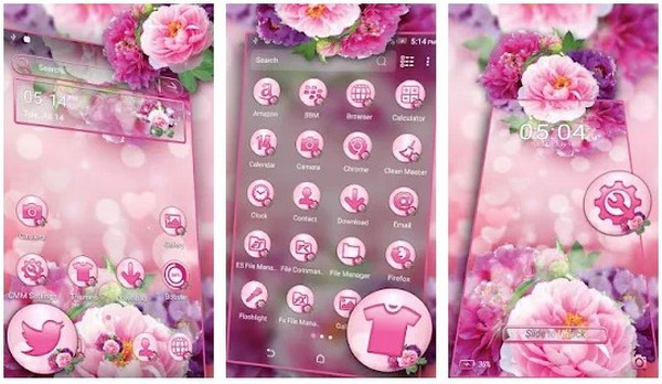 Pink Flower Bokeh Launcher Theme