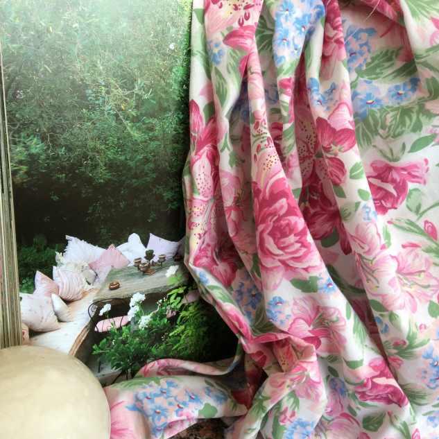 tissu coton tissu imprime fleuri rose
