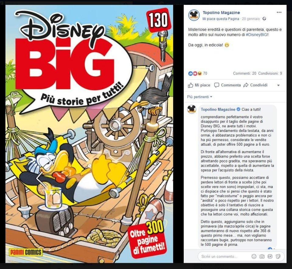 topolino magazine giustifica su facebook la scelta di dover ridurre la foliazione di disney big
