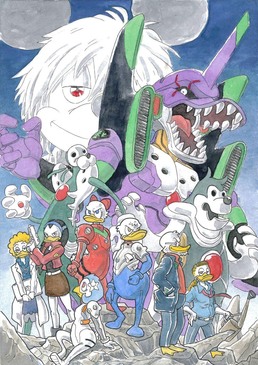 evangelion, parodia, parodie, disney, anime, neon genesis evangelion
