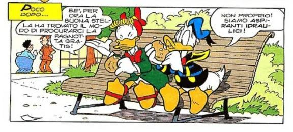 Paperino e Gastone divorano la pagnotta con burro e alici