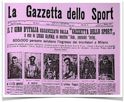 Gazzetta dello sport primo giro d'Italia