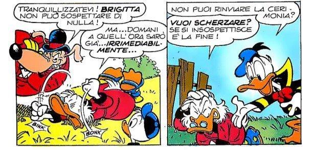 Paperone, Paperino e Bido de Truffis discutono su come non insospettire Brigitta.