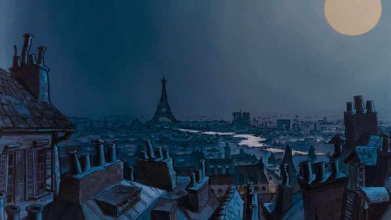 Vista di Parigi, tratto dal film Gli Aristogatti. Questa immagine è ottenuta con la sovrapposizione di più piani grazie alla camera multipiano.