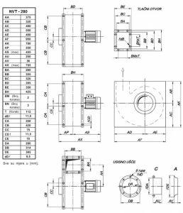 Mjerna skica srednjetlačnog centrifugalnog ventilatora NVT 280