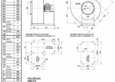 Mjerna skica srednjetlačnog centrifugalnog ventilatora NVT 355