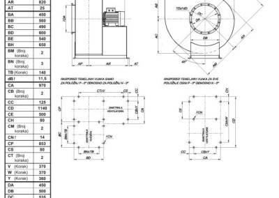 Mjerna skica srednjetlačnog centrifugalnog ventilatora NVT 450