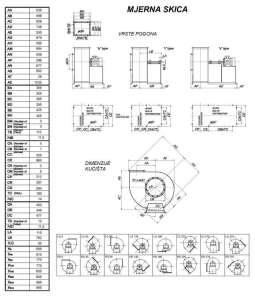Mjerna skica srednjetlačnog centrifugalnog ventilatora SPV-400-011