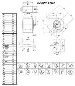 Mjerna skica srednjetlačnog centrifugalnog ventilatora SPV-500-021