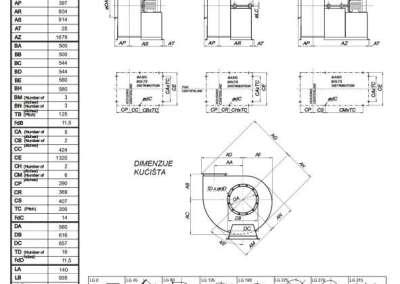 Mjerna skica srednjetlačnog centrifugalnog ventilatora SPV-560-011
