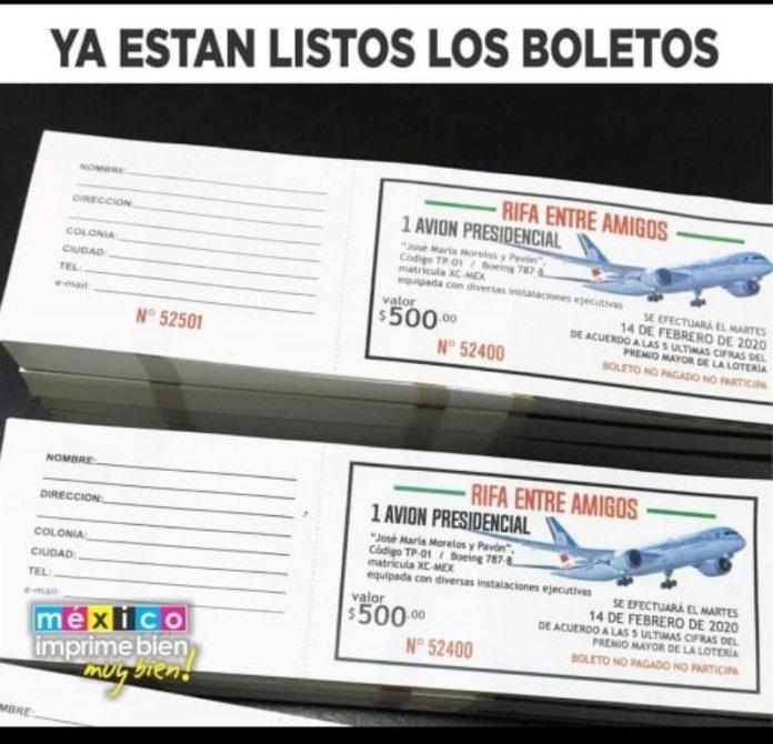 Boletos para la rifa del avión, en Memelandia