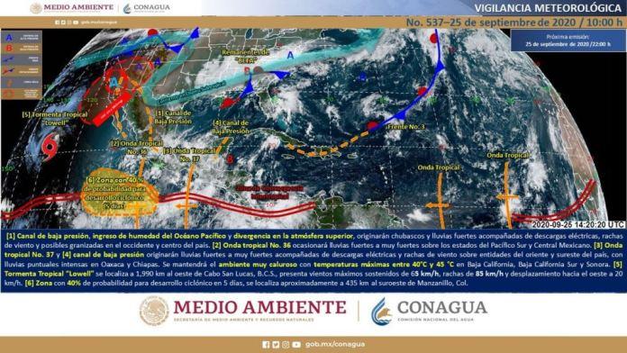Un canal de baja presión sobre el oriente del territorio, en interacción con una zona de inestabilidad en la atmósfera superior, producirá lluvias puntuales muy fuertes en el sur de Veracruz