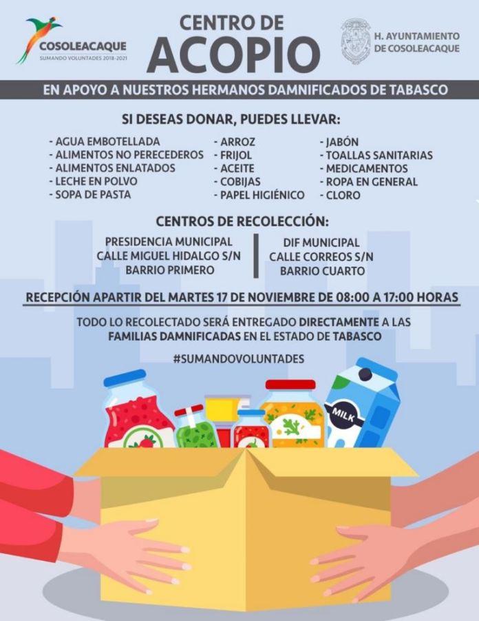 El Palacio y el DIF Municipal, serán centros de acopio para recibir productos no perecederos en beneficio de los damnificados de Tabasco