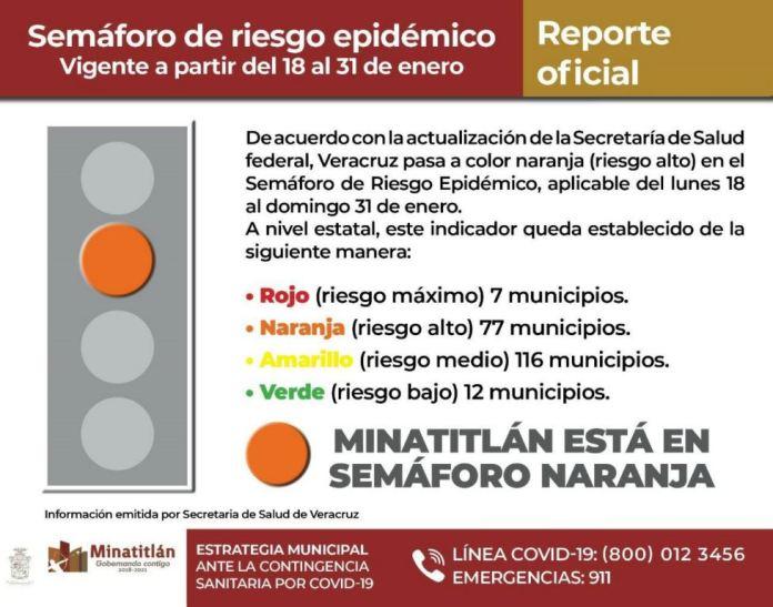 Minatitlán, en Fase Naranja por COVID-19