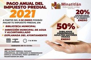 Invitan al pago del predial 2021 en Minatitlán