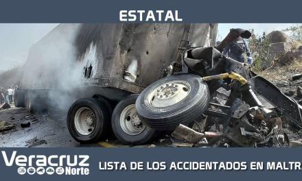 LISTA DE LOS ACCIDENTADOS EN MALTRATA