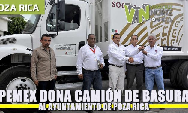 Entregó Pemex un camión recolector de basura, al ayuntamiento de Poza Rica