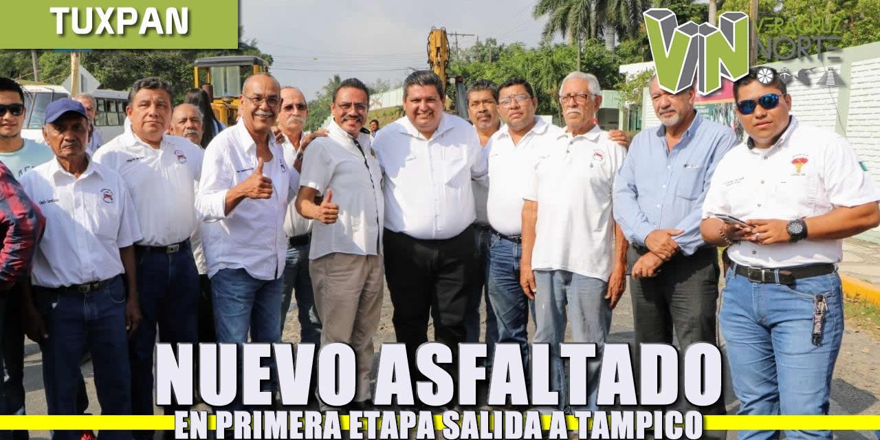 Nuevo asfaltado en primera etapa salida a Tampico