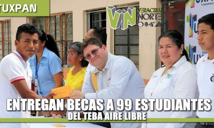 ENTREGAN BECAS DE ESTUDIO A 99 ALUMNOS DEL TEBA AIRE LIBRE