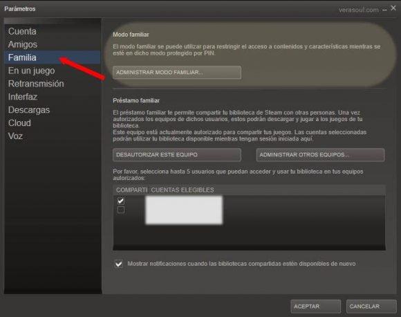 Administrar autorizaciones cuentas Steam