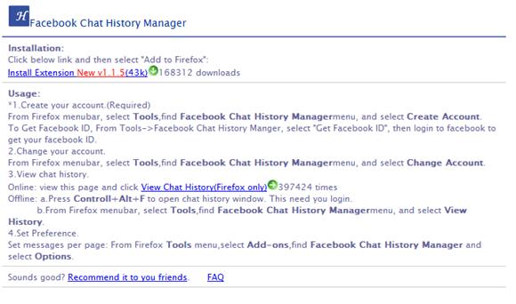 Instrucciones Facebook History Chat