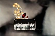 Garnet, topaz, vintage glass, silver, gilding, plexiglass