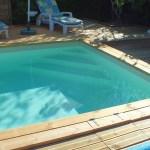 Mini-piscine en bois avec escalier d'angle de 2 metre