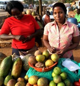 Uganda är ett av Afrikas bördigaste länder och fruktbergen dignar på de stora marknaderna, och som här hos en fruktförsäljerska vid en av de stora vägarna österut från Kampala, i förorten Kumunana: papaya, mango, apelsiner. (Foto: Daniel van der Blij)