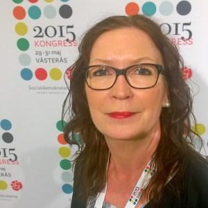 Helena Frisk, Verdandis ordförande, talade för motionen om Arbetsintegrerande Sociala Företag på partikongressen.