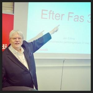 Jan Edling, Verdandis analytiker, visade nya siffror om FAS 3-verksamheten på Verdandis seminarium på partikongressen.