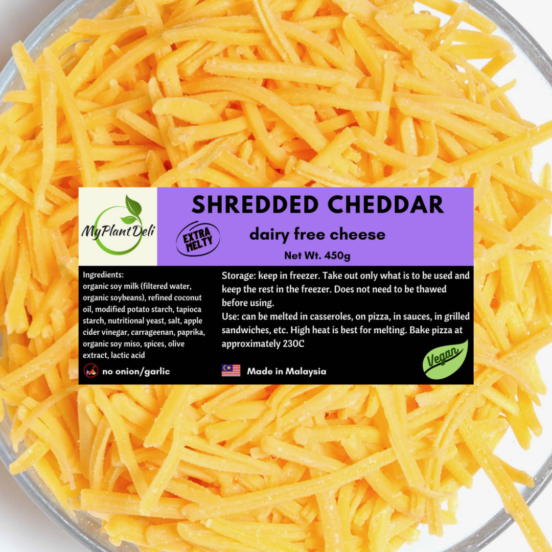vegan extra melty cheddar shredded cheese extra melty organic soy akela verdanya Malaysia organic soy