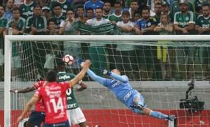 O goleiro Fernando Prass, da SE Palmeiras, em jogo contra a equipe do C Jorge Wilstermann, durante partida válida pela primeira fase, da Copa Libertadores, na Arena Allianz Parque.