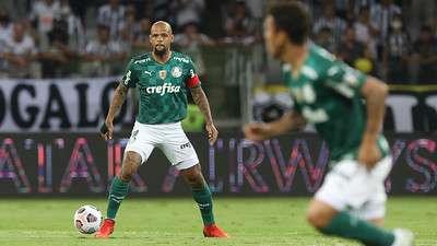 Felipe Melo durante jogo do Palmeiras contra o Atlético-MG, durante segunda partida válida pelas semifinais da Libertadores 2021, no Mineirão.