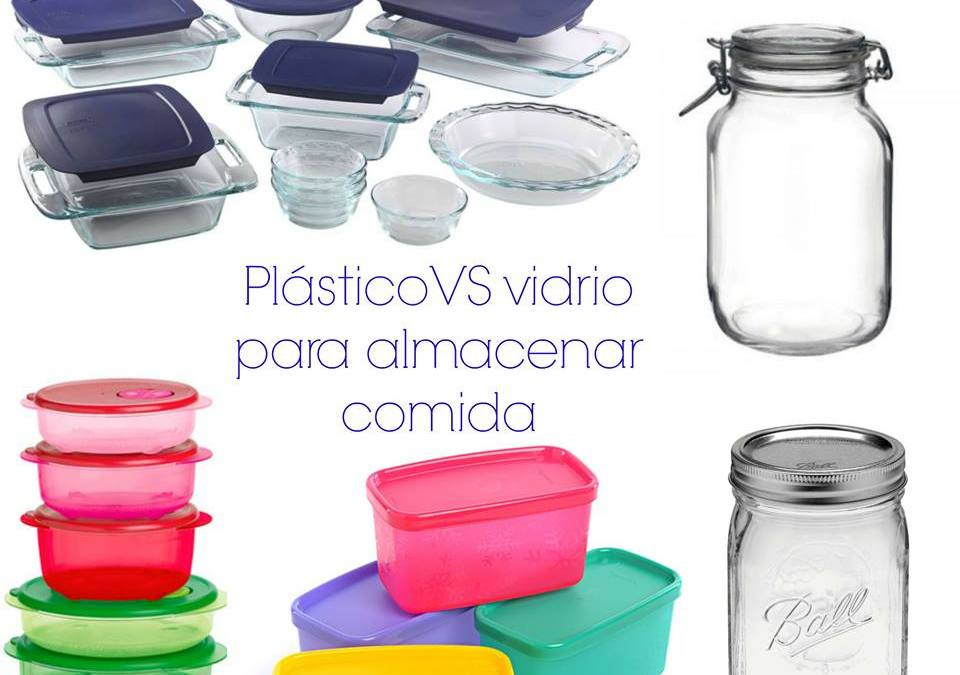 Plástico o vidrio para almacenar