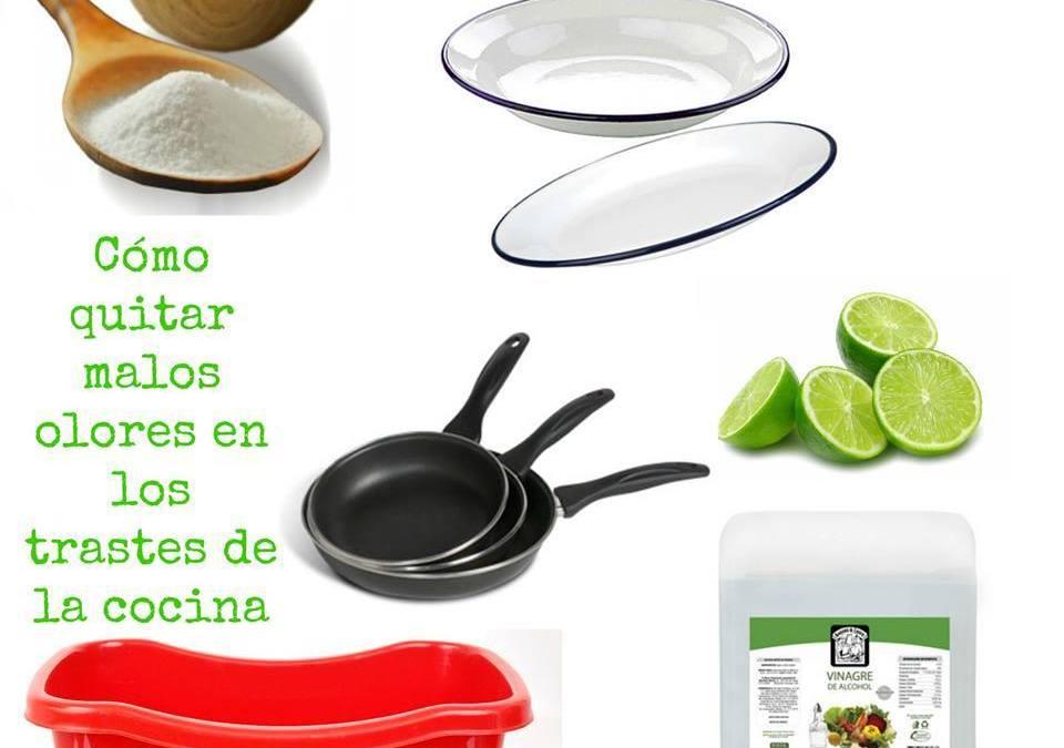 Cómo quitar malos olores en los trastes de la cocina