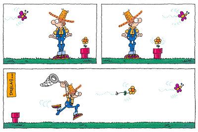 Humor y jardinería - De vez en cuando alguna flor quiere retribuirle al Jardinero Mágico sus atenciones.