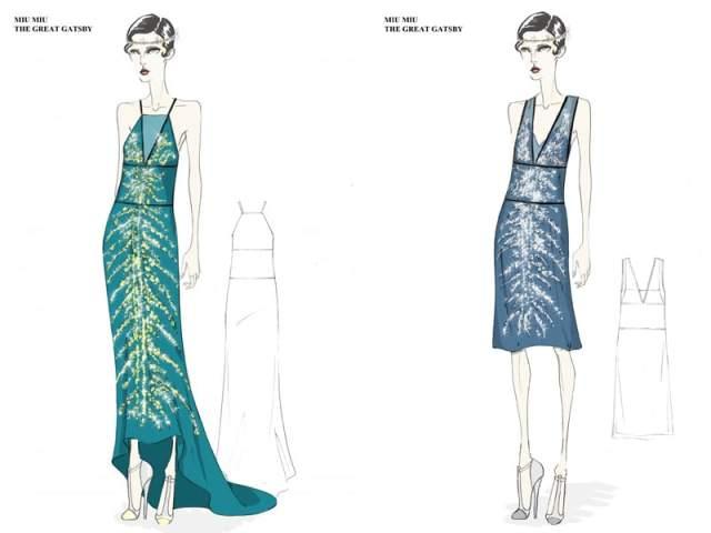 bozzetti dei costumi di Miu Miu per il film Il Grande Gatsby