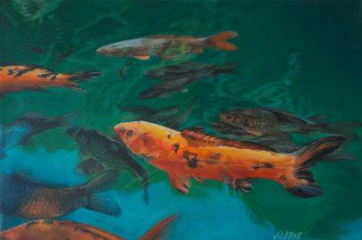 Im Teich - Acryl auf Leinwand, 40x60cm