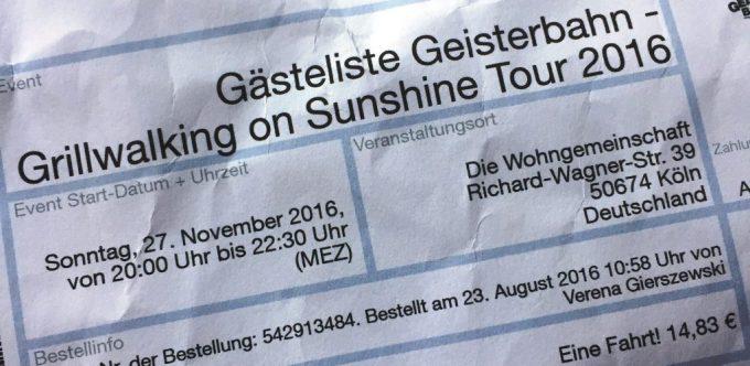Gästeliste Geisterbahn in Köln