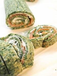 Spinat-Lachs-Rolle mit Kräuter-Frischkäse und Lachs