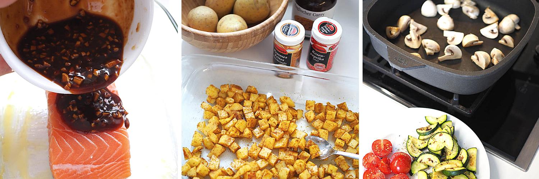 Sommer-Bowl mit Miso-Lachs und cremigem Tahini-Zitronen-Dressing