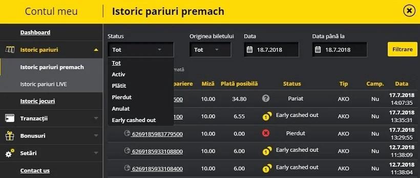 Fortuna Istoric Pariuri (Mobil)